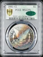 1881-CC MORGAN $1 PCGS MINT STATE 62PL CAC - RETRO DOILY HOLDER - RAINBOW TONING - WOW