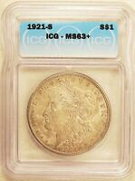 1921-S MORGAN DOLLAR SILVER $1 CHOICE BRILLIANT UNCIRCULATED ICG MINT STATE 63