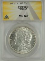 1902-O $1 MORGAN SILVER DOLLAR ANACS MINT STATE 63 6109722 VAM-31A CLASHED N & ST