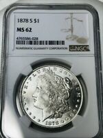 NGC CERTFIED MINT STATE 62 1878 S MORGAN DOLLAR, FROSTY WHITE        801