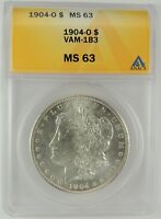 1904-O $1 MORGAN SILVER DOLLAR VAM-1B3 ANACS MINT STATE 63 6032839 TOP POP HARD TO FIND