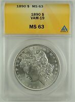 1890-P $1 MORGAN SILVER DOLLAR VAM-19 ANACS MINT STATE 63 5006522  R5 TOP POP