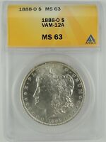 1888-O $1 MORGAN SILVER DOLLAR VAM-12A ANACS MINT STATE 63 6032821  AND HARD TO FIND