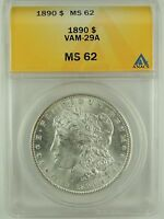 1890-P $1 MORGAN SILVER DOLLAR VAM-29A ANACS MINT STATE 62 5006525  R6 EYE APPEAL