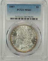 1887-P $1 MORGAN SILVER DOLLAR PCGS MINT STATE 61 38579650 - GREAT LOOKING BU COIN