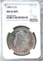 1885-O SILVER MORGAN DOLLAR NGC MINT STATE 63 DPL