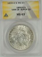 1890-O $1 MORGAN SILVER DOLLAR ANACS MINT STATE 63 6109713 VAM-1B SUPER CD - CLASHED DIE