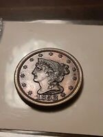 1853 HALF CENT STUNNING COIN NICE COLOR