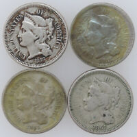 MIXED DATE FOUR AMERICAN NICKEL THREE CENT PIECES 1867 1865