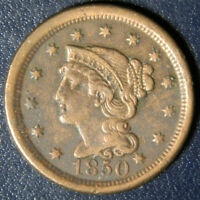 1850 LARGE CENT  POROUS BOLD VF  PRICED RIGHT