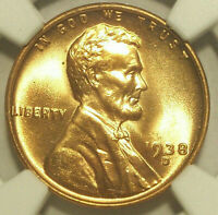 1938-D LINCOLN WHEAT CENT GEM MINT STATE 66 RD