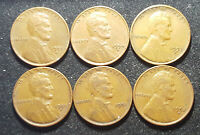 LOT 6 COIN US 1 CENT LINCOLN WHEAT 1951 1952 1953 1954