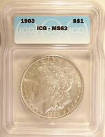 1903 MORGAN DOLLAR SILVER $1 BRILLIANT UNCIRCULATED MINT STATE ICG MINT STATE 62