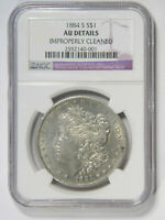 1884-S MORGAN SILVER DOLLAR  NGC AU DETAILS  PRICED RIGHT 001