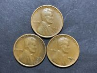 1929-P, 1929-D, 1929-S LINCOLN CENTS IN VG CONDITION CHOCOLATE BROWN COLOR