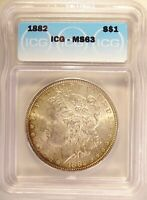 1882 MORGAN DOLLAR SILVER $1 CHOICE BRILLIANT UNCIRCULATED ICG MINT STATE 63