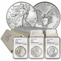 1986 - 2020 COMPLETE 35 COIN AMERICAN SILVER EAGLE SET NGC MINT STATE 69