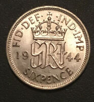 GREAT BRITAIN: 1944 SIXPENCE   SILVER  CHOICE BRILLIANT UNCI