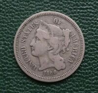 1866 US THREE-CENT NICKEL, FINE    INTERESTING & UNUSUAL US COINAGE