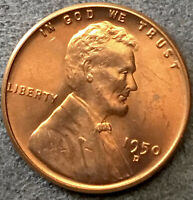 1950 D UNCIRCULATED RD RED -SPOTS MAINLY ON OBVERSE- LINCOLN WHEAT CENT  B815