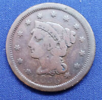 1850 BRAIDED HAIR LARGE CENT,  GOOD, COMBINED SHIPPING, HJP ESTATE 5-63
