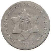 UNITED STATES THREE CENTS 1852 SILVER T122 425