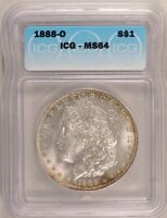 1888-O MORGAN DOLLAR SILVER $1 CHOICE BRILLIANT UNCIRCULATED MINT STATE ICG MINT STATE 64