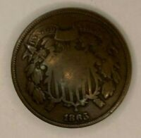 1865 UNITED STATES 2 CENTS COIN
