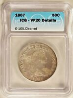 1807 O-105 BUST HALF DOLLAR SILVER 50C CIRCULATED ICG VF20 DETAILS CLEANED