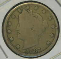 1887 LIBERTY HEAD V NICKEL - GOOD CONDITION