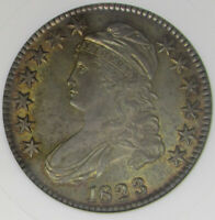 1823 CAPPED BUST HALF DOLLAR, ANACS MINT STATE 61, O-110, 3 LOOKS BROKEN, TARGET TONE.