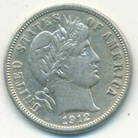 1912-D BARBER SILVER DIME-  LIGHTLY CIRCULATED DIME-SHIPS FREE INV:4
