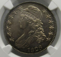 1828 CAPPED BUST HALF DOLLAR, NGC AU 58, SQUARE 2, SMALL 8, LOOKS UNC,  TONE