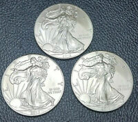 2013 SILVER EAGLE 1OZ SILVER DOLLAR 3 COIN LOT GEM BU  WOW FACTOR QUALITY