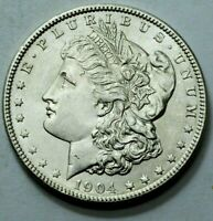 SUPERB UNC MS 1904-P  MORGAN DOLLAR SILVER COIN  US BETTER DATE COIN