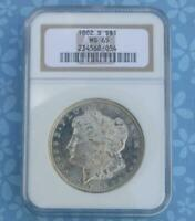 1882 S NGC MINT STATE 65 SILVER MORGAN DOLLAR, GEM MINT STATE 65 MORGAN SILVER $1 COIN, LUSTER