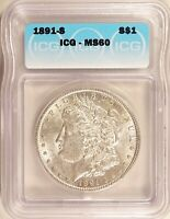 1891-S MORGAN DOLLAR SILVER S$1 UNCIRCULATED ICG MINT STATE 60