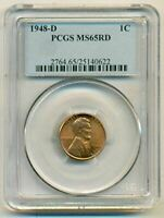 1948 D LINCOLN WHEAT CENT MINT STATE 65 RED PCGS
