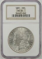 1885-P $1 MORGAN SILVER DOLLAR NGC MINT STATE 64 344421-040 GREAT EYE APPEAL