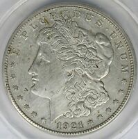 1921-S VAM-9A WEAK S MORGAN SILVER DOLLAR $1 ANACS AU55 DETAILS - WIRE BRUSHED