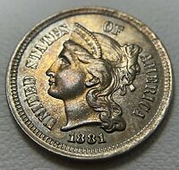 1881 3 CENT NICKEL UNCIRCULATED DETAILS