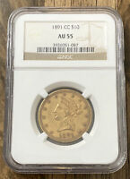 1891 CC $10 GOLD EAGLE NGC AU55. AMAZING COIN FOR ANY COLLEC