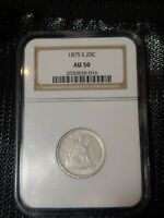 1875 S SEATED LIBERTY 20 CENT PIECE NGC AU 50