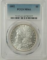 1882-P $1 MORGAN SILVER DOLLAR PCGS MINT STATE 61 40782527 -  MINT STATE COIN
