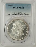 1880-S $1 MORGAN SILVER DOLLAR PCGS MINT STATE 62 40782556 - GREAT EYE APPEAL TONED REV