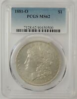 1881-O $1 MORGAN SILVER DOLLAR PCGS MINT STATE 62 40450500  EYE APPEAL & GREAT SURFACES