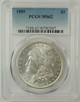 1889-P $1 MORGAN SILVER DOLLAR PCGS MINT STATE 62 40782567  GREAT EYE APPEAL