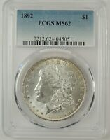 1892-P $1 MORGAN SILVER DOLLAR PCGS MINT STATE 62 40450511  GREAT EYE APPEAL