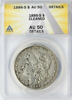 1886-S MORGAN SILVER DOLLAR $1 ANACS AU50 DETAILS - CLEANED