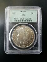 1887-P MORGAN SILVER DOLLAR $1 PCGS MINT STATE 63 OLD GREEN HOLDER OGH